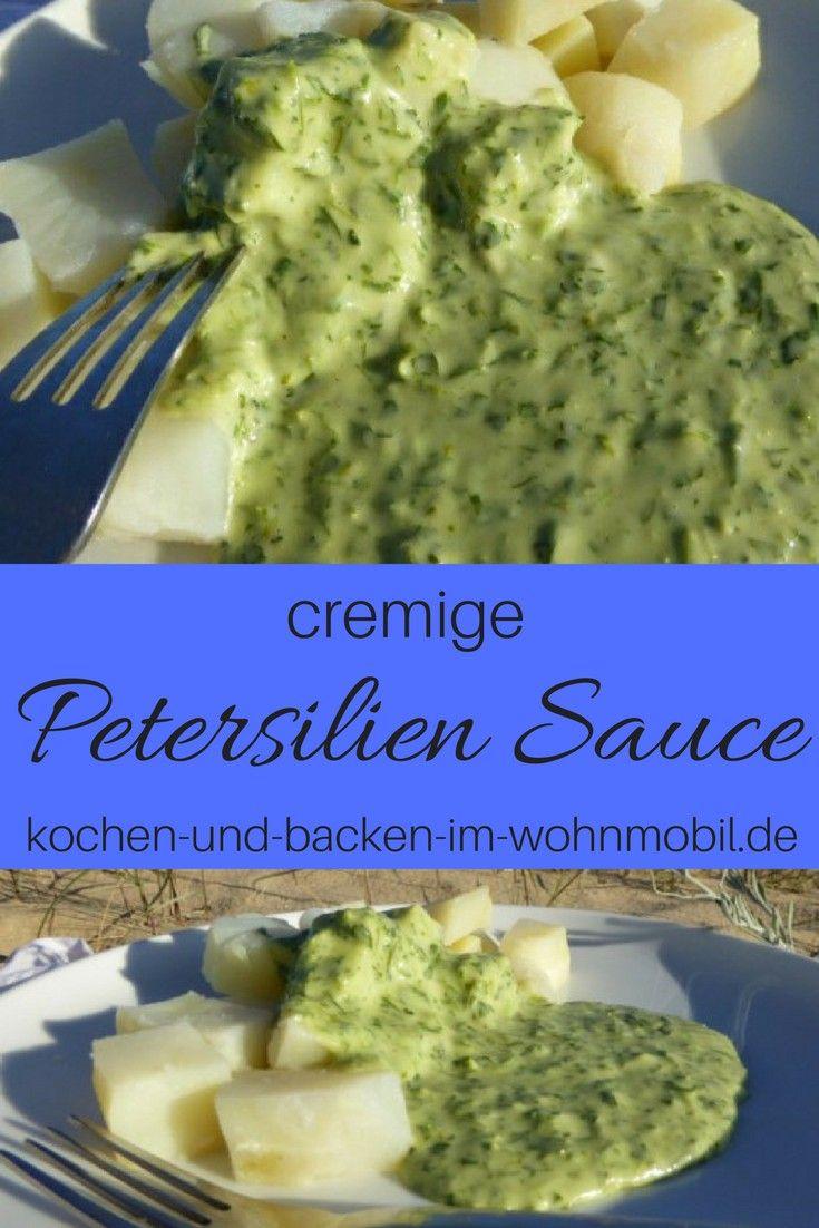 cremige Petersiliensauce passt zu Kartoffeln oder Crepes