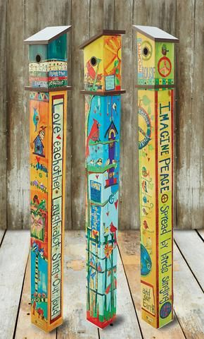 Vinyl art poles are innovative reproductions of original artwork that's hand painted and wood burned. Simple messages for a special touch in the garden. Durable vinyl features vibrant color that's lam