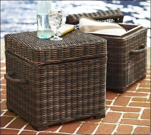 Torrey All Waether Wicker Cubes-Expresso Pottey Barn