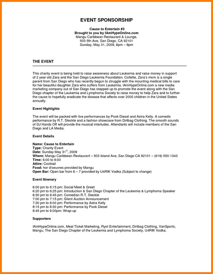 Best 25+ Event proposal template ideas on Pinterest Event - letter of sponsorship sample