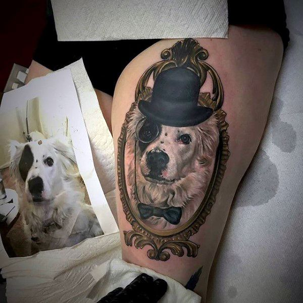 Cool Dog Portrait Tattoo On Leg Thigh Of Male