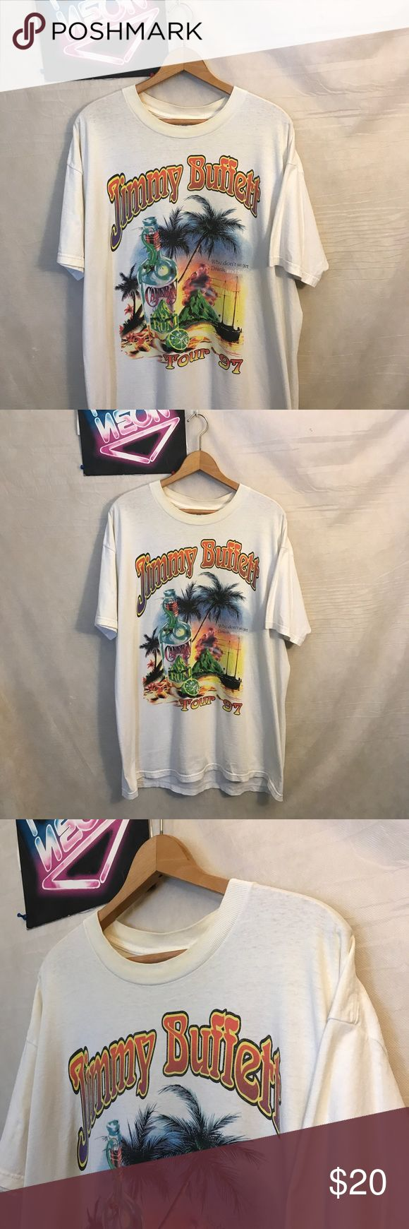 """Vtg Buffett Destroyed Mens 97' T-shirt Sz XL A1827 Vintage 1997 Jimmy Buffett Destroyed Men's Tour 97' White T-shirt Sz XL, pit to pit - 24"""", collar to hem - 29"""", discolored from age, no holes or rips, ships from smoke free facility, thank you delta Shirts Tees - Short Sleeve"""