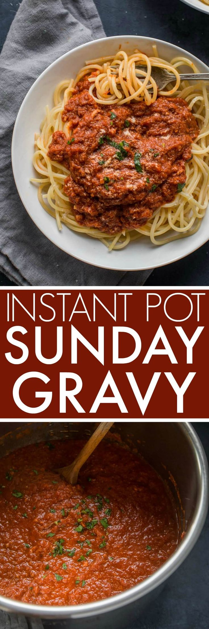 This Instant Pot Sunday Gravy recipe is the perfect shortcut for making my Nana Lamancuso's authentic Italian meat sauce using your electric pressure cooker.