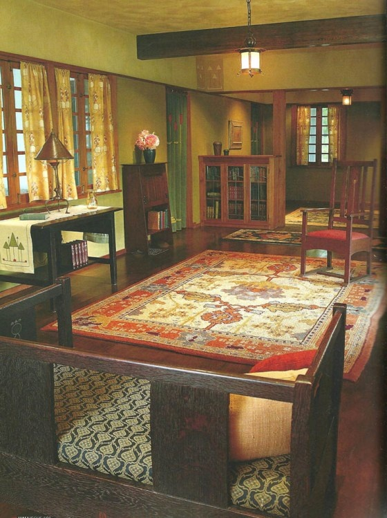 Beautiful Arts & Crafts room - Crab Tree Farm, just north of the Illinois village of Lake Bluff, is the ideal setting for the Arts and Crafts carpet collection of John H. Bryan.