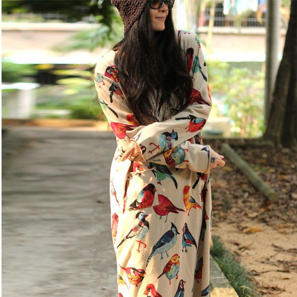 Aliexpress.com : Buy New spring/autumn women loose printed animal dress long sleeve cotton bird pattern long gowns plus size beige/dark blue from Reliable prints kids suppliers on NINI'S CLUB