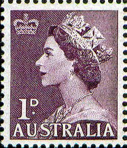 QE2 Definitive 1d -- Issued 19/08/1953.