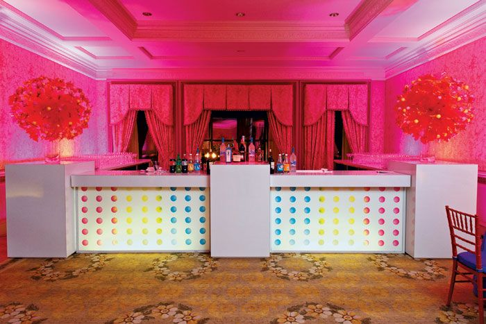 A bat mitzvah designed by Boston-based Rafanelli Events incorporated a Willy Wonka theme and a cocktail bar cleverly constructed to resemble... Photo: Michael Blanchard Photography