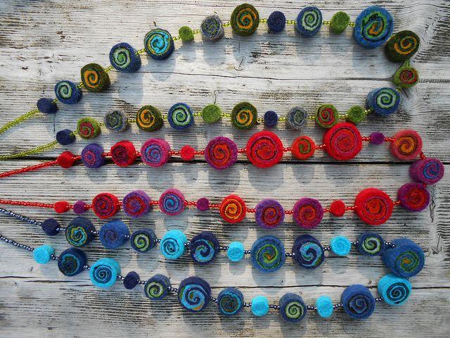 Necklace, felted rolls, merino wool, mountain sheep wool, gotland wool, Eexterhout by Kyroushka / Eexterhout, via Flickr