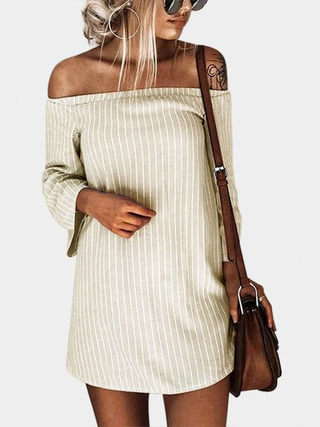 Beige Sexy Off Shoulder Lace Up Stripe Patern Mini dress