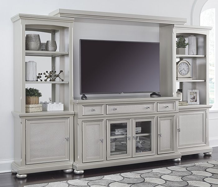 A contemporary media cabinet with a mid-sheen metallic silver finish.