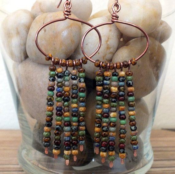 Bohemian Hoop Earrings Featuring Czech Picasso Seed Beads, boho earrings, dangle earrings, multicolor earrings