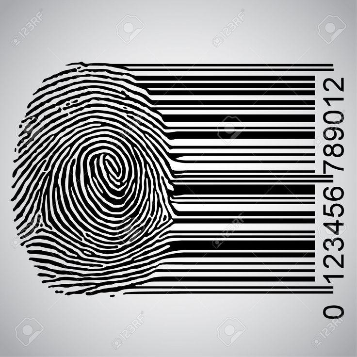 Fingerprint Becoming Barcode Illustration Vector By