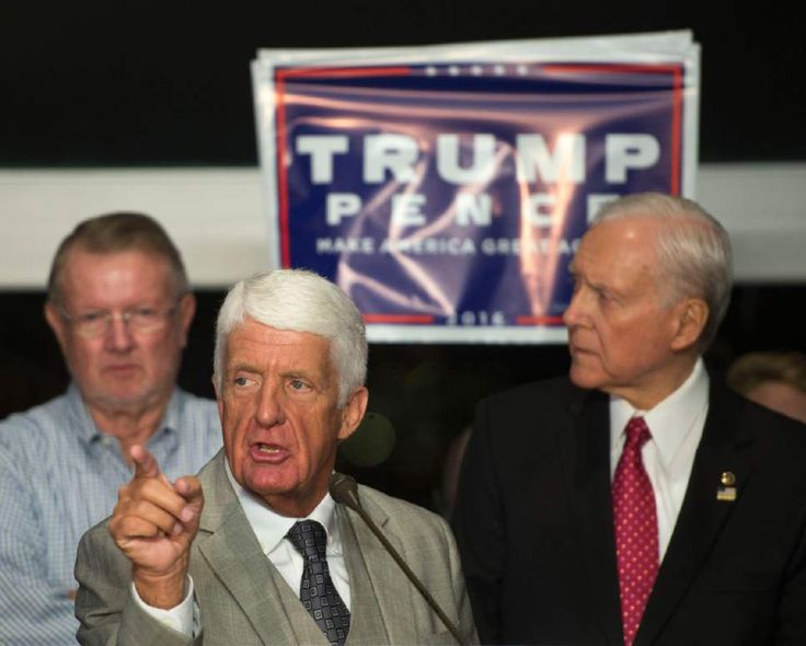 (Rep. Rob Bishop and Sen. Orrin Hatch take the stage after the Associated Press called the results in Pennsylvania for Donald Trump during the Republican Election Night party at Rice-Eccles Stadium on the campus of the University of Utah in Salt Lake City Wednesday, Nov. 9, 2016. (Steve Griffin/The Salt Lake Tribune)   via AP)