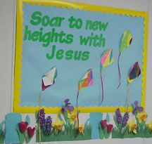 Sunday School Bulletin Board Ideas | ... to New heights with jesus! Bulletin Board Display for Sunday School