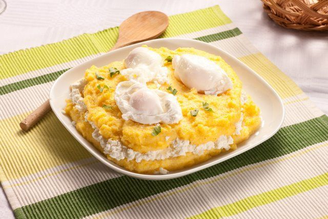 Mamaliga with cheese and egg on top