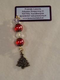 Rode kristal hanger met kerstboom