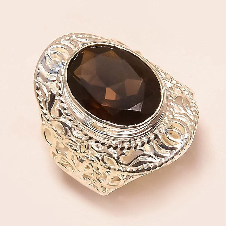 Smoky Topaz 925 Sterling Silver Jewelry Ring 8.5 #Handmade #Statement