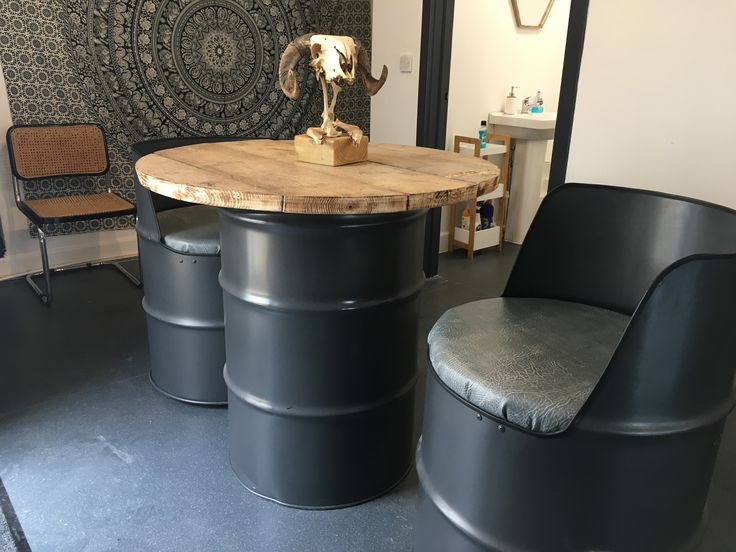 Oil Drum Seat Oil Drum Table Oil Drum Furniture