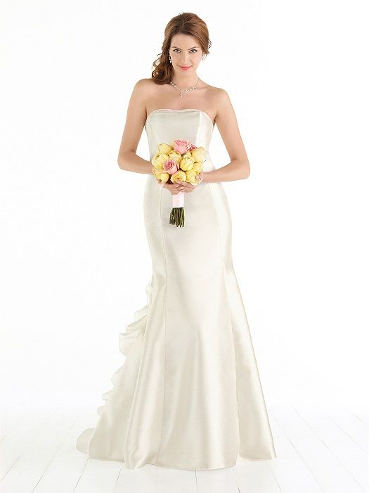 After Six Wedding Dress 1039: The Dessy Group Strapless gazar bridal gown with delicate picot trim along neckline and bias ruffle and handworked bow detail at back. Slight train. Sizes available 00-30W, and 00-30W extra length. Optional spaghetti straps included