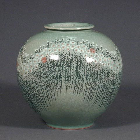 What Is Celadon Pottery This Beautiful Celadon Jar Is Decorated With A Field Of Chrysanthemums