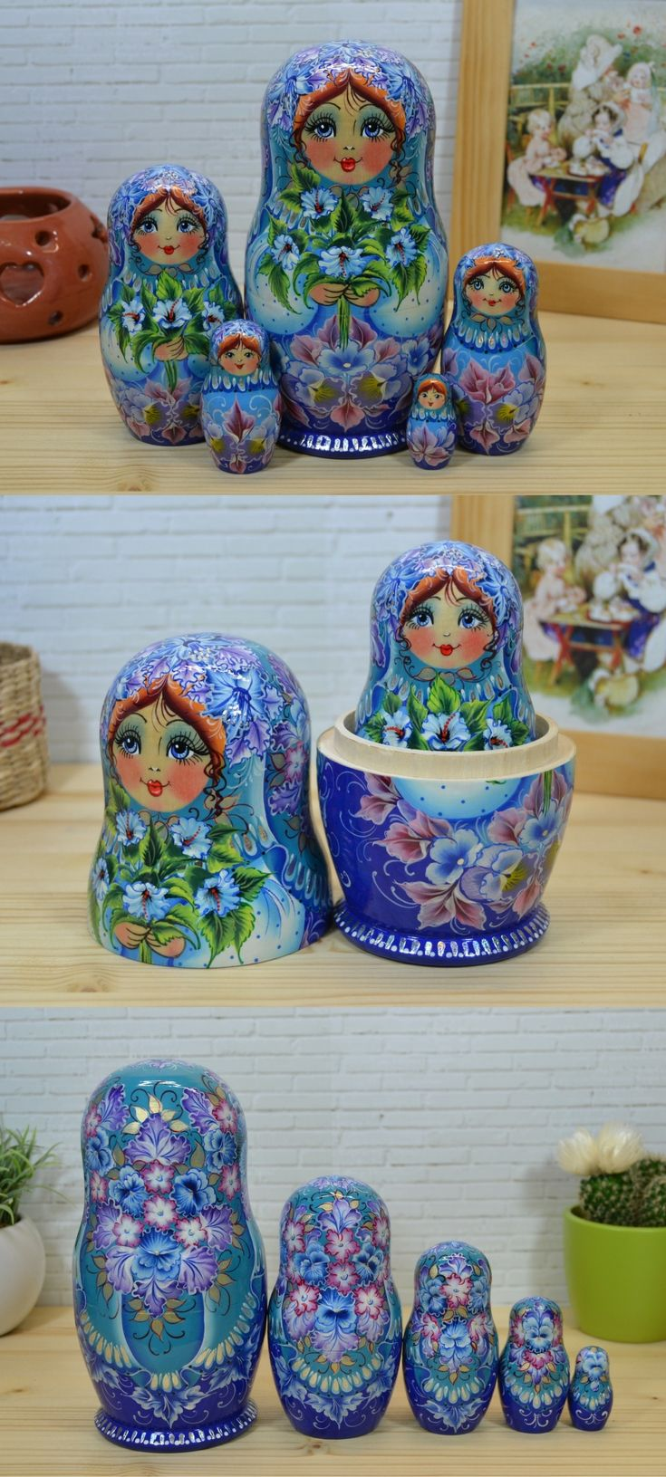 Russian nesting dolls in blue attire