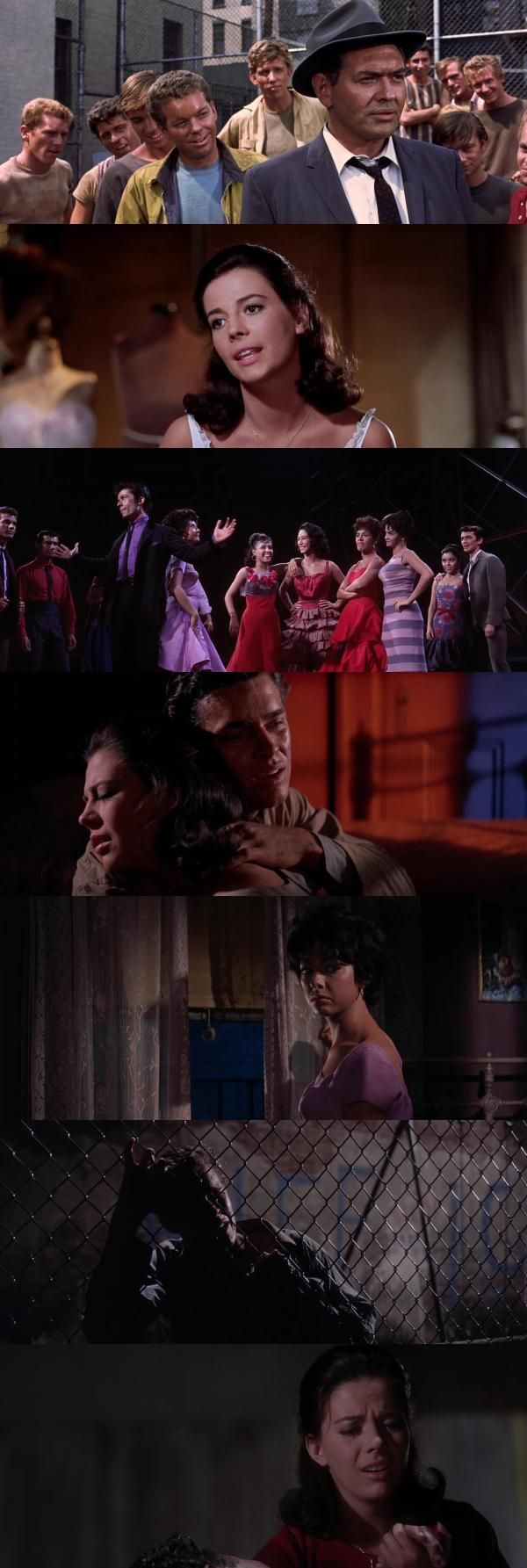 West Side Story (1961), produced by Robert Wise, directed by Robert Wise and Jerome Robbins.  I'd forgotten how gorgeous this is. I'd like it more if I cared for the singing and dancing, and for the very slight story, but it's not doing much for me. But give them credit: the dancing is impressive, with Russ Tamblyn (Riff) doing some incredible acrobatics.