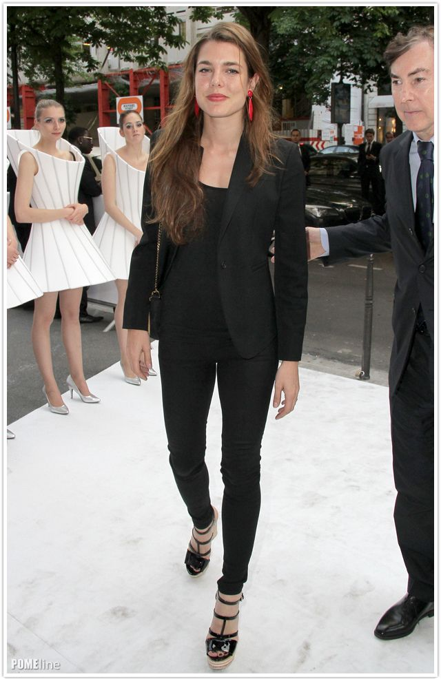 Charlotte Casiraghi looking chic in black.