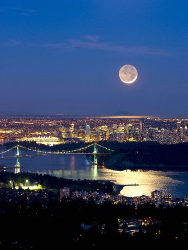 Crescent Moon over Vancouver, British Columbia, Canada