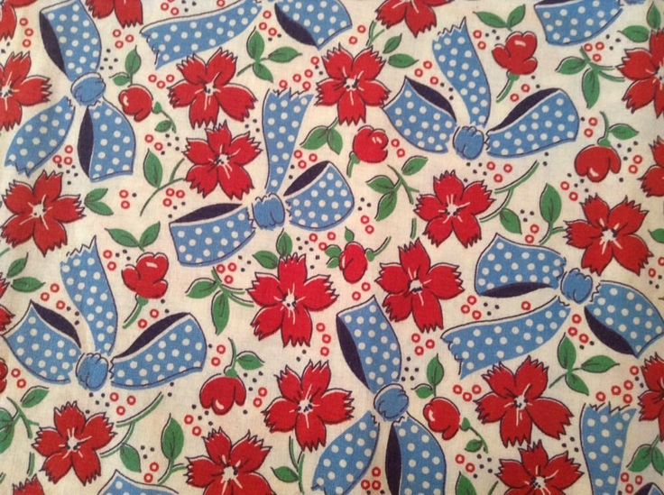 Vintage Vibrant Blue Bows Red Flowers Feed Sack