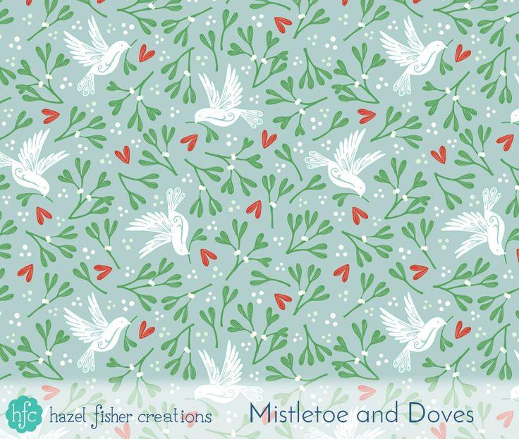 Spoonflower Ditsy Mistletoe design challenge - my Mistletoe and Dove design by Hazel Fisher Creations