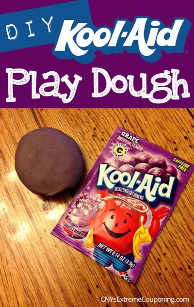 A fun rainy day activity for scented homemade play dough made from Kool-Aid!