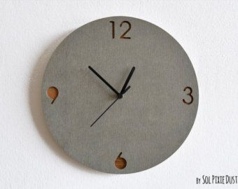 concrete and wood circle wall clock modern wall clock
