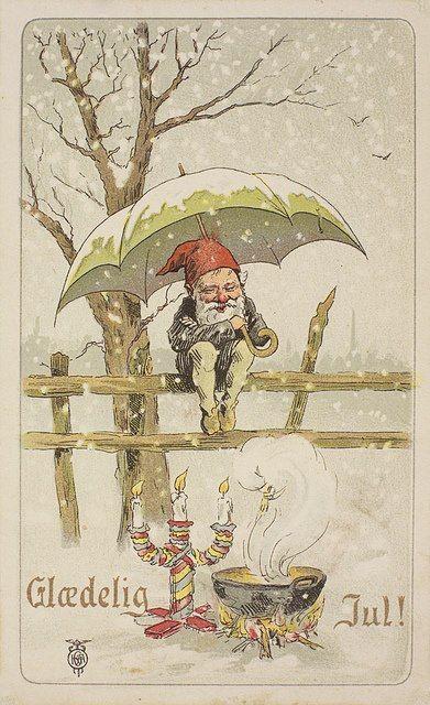 Glædelig Jul - vintage Danish Christmas postcard
