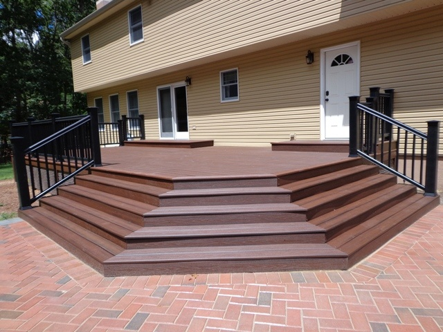 Best Grand Splayed Stair Leading To Patio Custom Deck Stairs 400 x 300