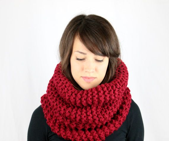 VENTA rojo grueso capucha bufanda de la redecilla mujeres por zukas