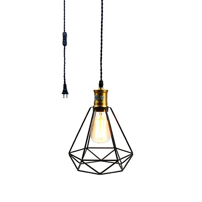 Pauwer Wire Cage Pendant Light Plug In Vintage Pendant Light With On Off Switch Black B Cage Pendant Light Black Pendant Light Vintage Pendant Lighting