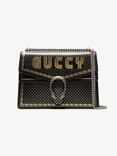 874cd3a80069d3 GUCCI | Black And Metallic Gold Dionysus Medium Leather Bag | $4,706.00 |  This black and