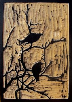 "Woodblock print ""Birds and Branches"" by Amanda Gordon Miller"