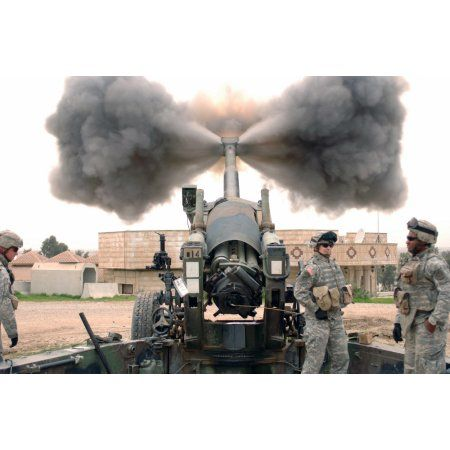 US Army Soldiers conduct a calibration fire of a M198 Howitzer Canvas Art - Stocktrek Images (34 x 23)