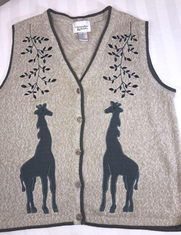 Womens Sweater Vest Sleeveless Buttones Cheistopher Banks S Embroidered Giraffe   | eBay