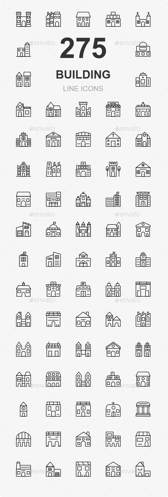 200+ Building Line Icons