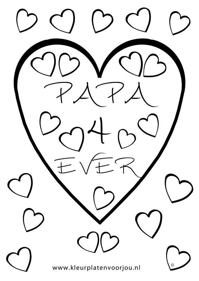 Verjaardags Kleurplaat Vader Kleurplaat Hart Valentijn Moederdag Vaderdag