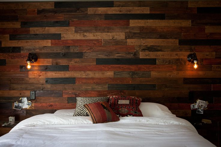 Wood Plank Wall DIY : Possibly THE most BEAUTIFUL DIY Plank Wall I have seen on pinterest... WOW. And those sconces...*jaw drop*...