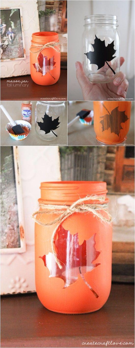 Mason Jar Fall Luminary   DIY Fun Tips