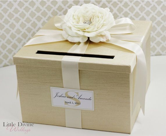 wedding card box champagne gold ivory money holder customizable