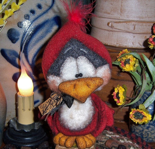 "Primitive Cardinal Red Bird Fuzzy 5"" Bear Doll ★ Vtg Patti's Ratties Ornie OOAK"