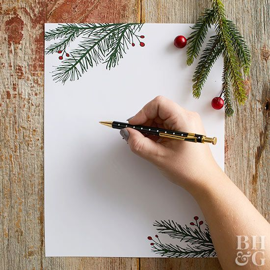 Evergreen branches and red berries make the perfect backdrop for this year's traditional Christmas letter. Each of our Christmas letter templates is available as a PDF download; load printed versions into the printer to add a typed letter directly onto the design, or write out holiday greetings by hand.