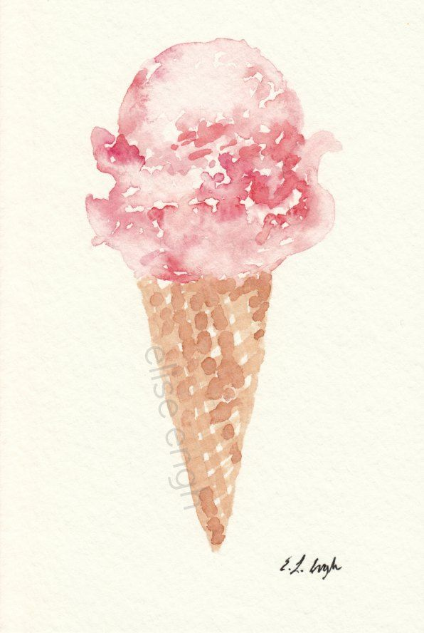 Original Watercolor Pink Ice Cream Cone Painting by Elise Engh