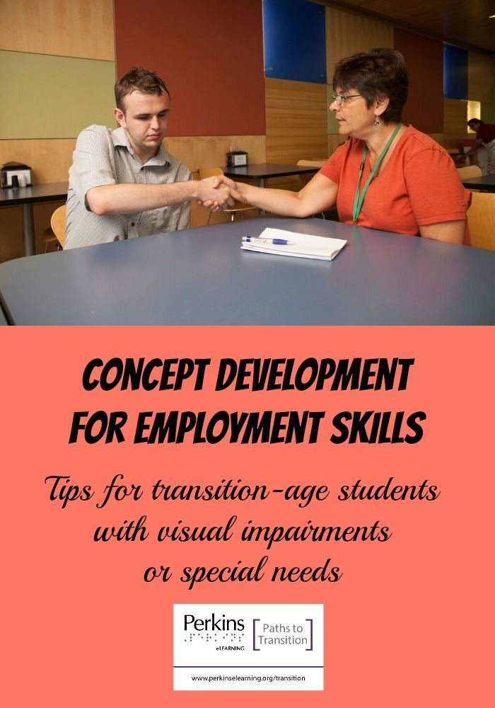 Tips for teaching concept development for employment skills to transition-age students with visual impairments or other special needs