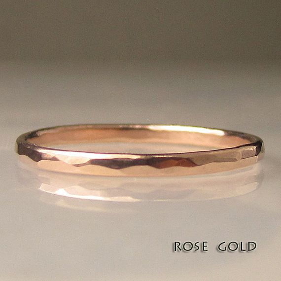 Thin Women's Gold Hammered Wedding Band 1.5mm by JanishJewels